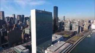 Download NYC 01 - Drone View of East River and United Nations Building Video