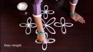 Download kolam with 7x1 straight dots || muggulu designs || easy rangoli designs with dots Video