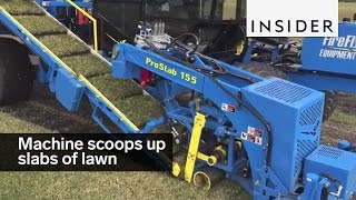 Download This machine scoops up perfect slabs of lawn Video
