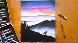 Download Speed drawing - Misty mountains with soft pastels | Leontine van vliet Video