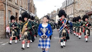 Download Drum Majors flourish during Huntly Pipe Band's 70th anniversary parade , Scotland, Sept' 2018 Video