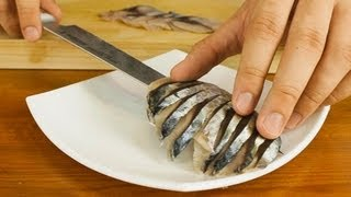 Download Mackerel Sashimi Made From Whole Fish Video