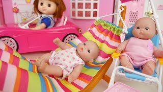 Download Picnic Baby doli and pink car toys baby doll hammock chair play Video