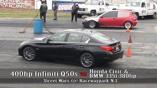 Download 400hp Infiniti Q50s vs Honda civic vs BMW 335i Video