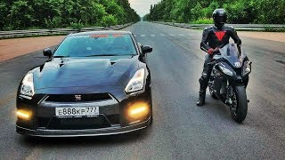 Download 950 л.с. Nissan GT-R vs 210 л.с. Kawasaki ZX10R Video