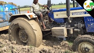 Download swaraj 744 tractor stuck in mud with Heavy Load/ John Deere Pulling Swaraj Tractor/come to village Video