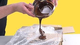 Download Pour Chocolate Onto Bubble Wrap – The Result Is Unique Video