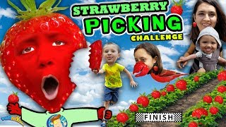 Download KIDS STRAWBERRY PICKING CHALLENGE! Fields of Fun w FUNnel Family + Play Time! Family Vlog Video