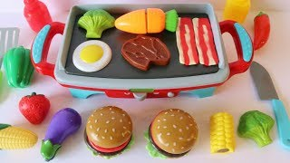 Download Toy grill BBQ hamburger picnic playset learn names of fruits and vegetables Video