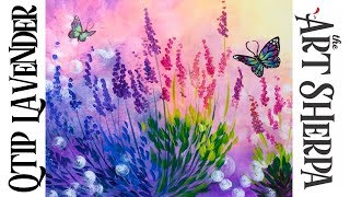 Download Easy Q-tip painting technique lavender with simple butterfly Video