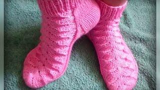 Download женские носки рисунком, вязание спицами Video