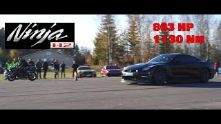 Download [4k] Kawasaki Ninja H2 vs JRM Racing Nissan GTR E85 863 HP 1130 Nm Video