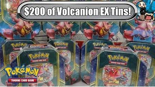 Download Opening $200 worth of Volcanion EX Battle heart tins! Pokemon TCG unboxing Video