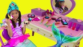 Download Emma Pretend Play Dress Up Disney Princess Ariel Little Mermaid Tail Makeup Girl Toys Video