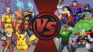Download Anime vs Justice League & Avengers (Goku, Naruto, Luffy, Pikachu vs Superman, Batman, Hulk, Thor) Video