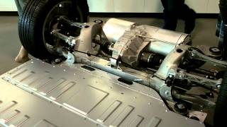 Download Tesla S.. Battery pack and drivetrain close-up walk-around view Video