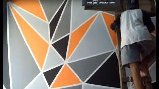 Download cara mengecat kamar dengan motif geometric Video