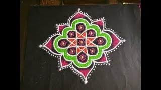 Simple Lotus Flower Rangoli Design With Colours Dots 11x6 For