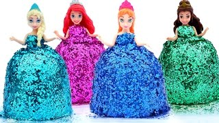 Download DIY How Make Super Glitter Play Doh Disney Princess Dresses Frozen Elsa Ariel Anna MagiClip Play Doh Video