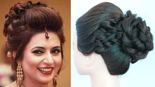 Download celebrity hairstyles || divyanka tripathi hairstyle || messy bun || wedding hairstyles || hairstyle Video