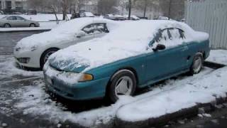 Download Icy Cold Start 2010 Hyundai Genesis Coupe 3.8 and 1994 Ford Mustang Convertible Video