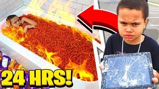 Download MY LITTLE BROTHER SAID YES TO EVERYTHING I SAID FOR 24 HOURS... [MUST WATCH] HOT CHEETOS BATHTUB!!! Video