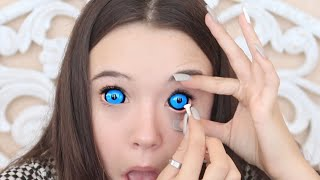 Download Putting In 4 (HUGE) Sclera Color Contacts For The First Time (Tips for you too!) ... Fiona Frills Video