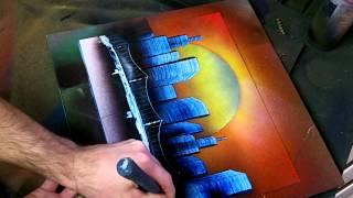 Download Simple Sunset Skyline - Spray Paint Art Video