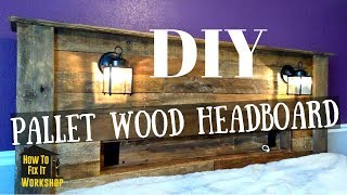 Download Pallet Wood Headboard with Coach Lights and Recessed Shelf Video