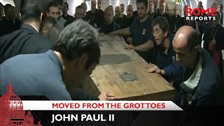 Download First images of John Paul II being moved from the grottoes Video