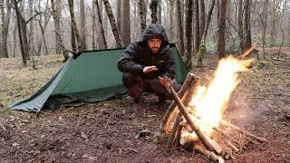 Download Solo Overnight Camp - Stealth Tarp, Winter Camping in Cold Rain, 100 Year Old Tools. Video