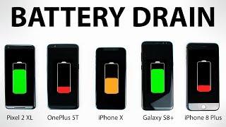 Download Google Pixel 2 vs iPhone X vs OnePlus 5T vs Galaxy S8 - BATTERY DRAIN Test! Video