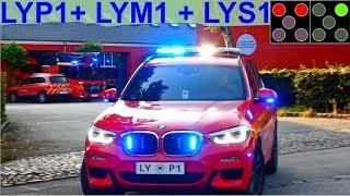 Download beredskab øst KDOW LYP1 + HTLF LYM1 + DLK LYS1 brandbil i udrykning Feuerwehr auf Einsatzfahrt Video