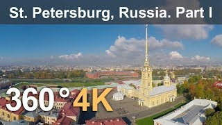 Download 360°, Saint Petersburg, Russia, Peter and Paul fortress, 4K aerial video Video
