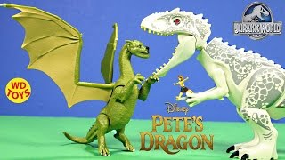 Download New Disney Pete's Dragon Action Figure Elliot Vs Indominus Rex Jurassic World Unboxing - WD Toys Video
