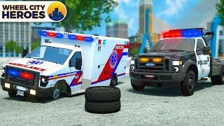 Download Police Car Assists Wheelless Ambulance | Vehicle Trucks Cartoon for Kids | Wheel City Heroes Video