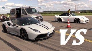 Download Ferrari 488 GTB Capristo vs F12 NOVITEC vs 9ff Porsche Turbo! Video