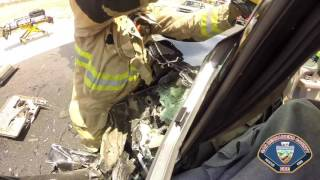 Download Driver Rescued from Vehicle Accident in Victorville Video