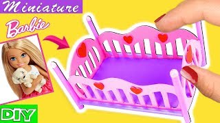 Download How to make a Barbie Baby Crib / Bed - Toddler Bed - DIY SUPER EASY miniature crafts Video