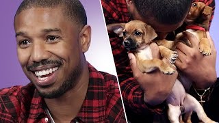 Download Michael B. Jordan Plays With Puppies While Answering Fan Questions Video
