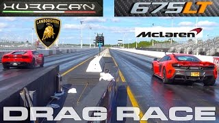 Download Lamborghini Huracan sets record running 10.5 vs McLaren 675LT 1/4 Mile Drag Racing Video