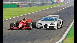 Download Ferrari F1 2018 vs Bugatti Veyron Super Sport - Monza Video