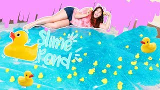 Download I MADE A SLIME DUCK POND ON MY LIVING ROOM FLOOR ~ how to make a duck pond Video