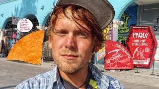 Download PAYING PEOPLE TO EAT WORLD'S HOTTEST CHIP! | #OneChipChallenge Venice Beach Video