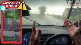 Download Tesla Autopilot Driving Through Flooded Roads In Heavy Storm Winds & Rain - Will It Still Work? Video
