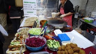 Download Turkish Street Food: freshly made GOZLEME & FALAFEL WRAPS at Boiler House Market, Brick Lane, London Video
