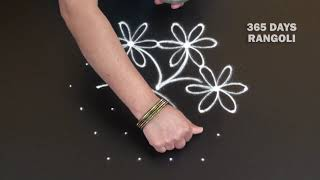 Download Small Rangoli Design with dots*7 dots Kolam with Flowers*Creative Small Rangoli with 7 dots Video