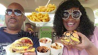 Download OUR FAVORITE SHAKE SHACK MUKBANG! DOUBLE SMOKESTACK BURGER! Video