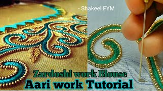 Download Zardoshi work blouse design tutorial | Aari work | Hand Embroidery Video
