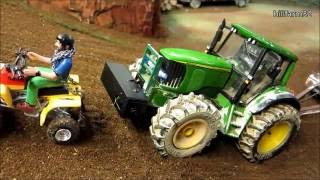 Download RC TRACTOR with trailer climbs the hill - Rc toys action Video